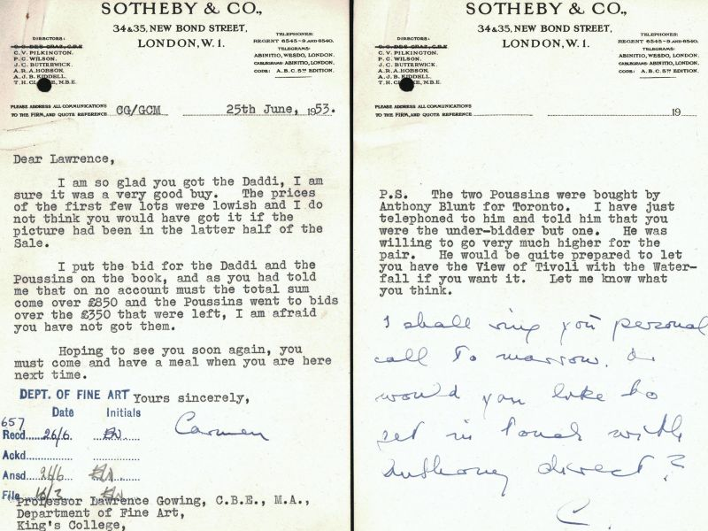 Letter to Gowing from Carmen Gronau at Sotheby's