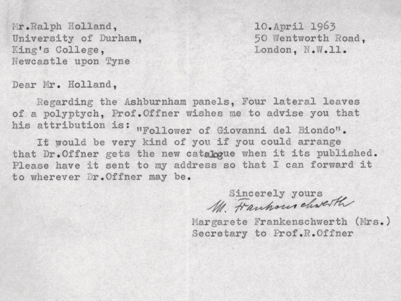 Letter from Professor Richard Offner to Ralph Holland