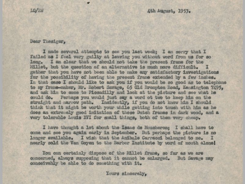 This letter demonstrates the relatively informal nature by which Gowing dealt with acquisitions