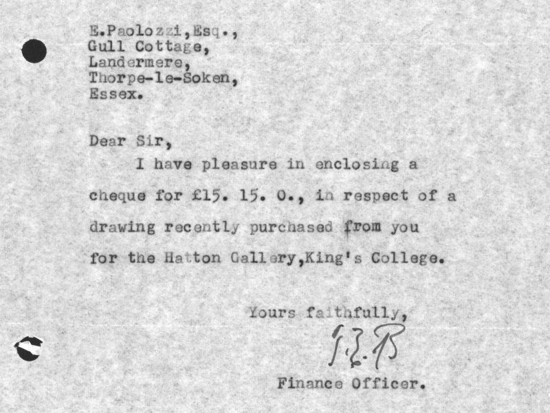 Cover note from the University Finance Officer to Paolozzi