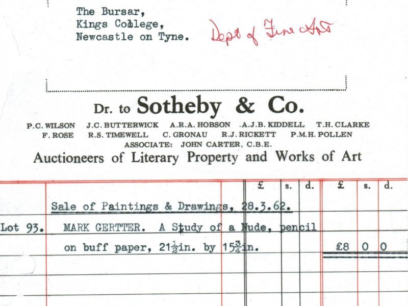 Invoice for the Mark Gertler drawing purchased from Sotheby's