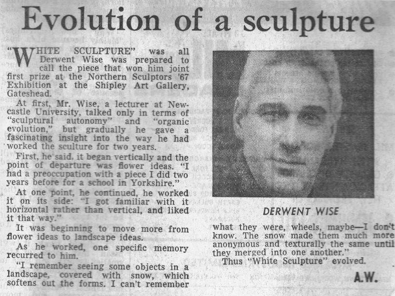 Sculpture tutor Derwent Wise's 'Northern Sculptors 67' competition